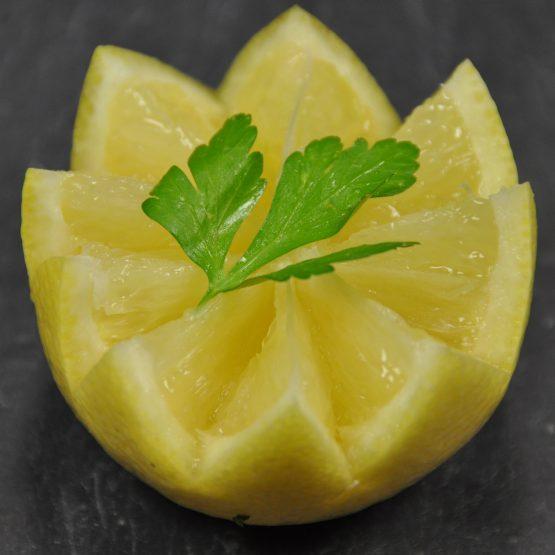 citron coupé en étoile plat