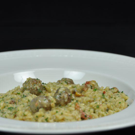risotto aux chipolatas et tomates confites plat