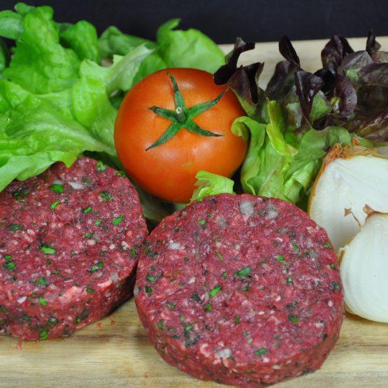 Hamburger de boeuf plat