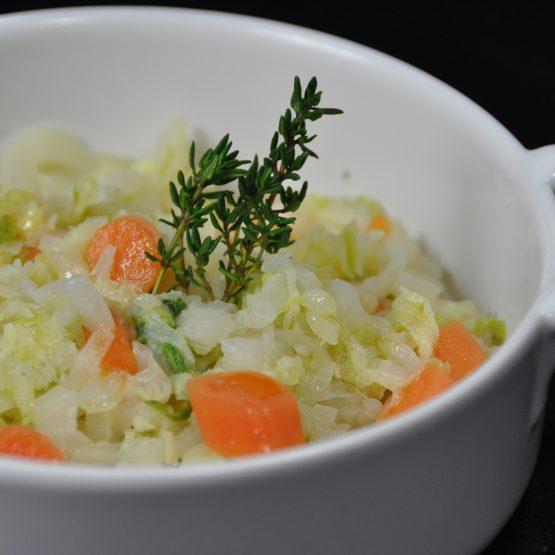 chou chinois au carotte plat